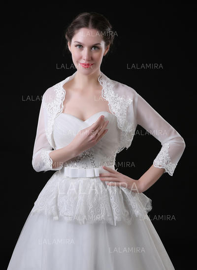 Wrap Wedding Lace Tulle 3/4-Length Sleeve With Appliques Lace Wraps (013150137)