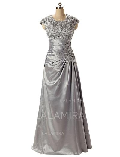 Empire Charmeuse Lace Sleeveless Scoop Neck Floor-Length Zipper Up Mother of the Bride Dresses (008146344)