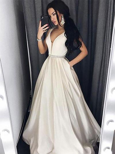 Floor-Length Regular Straps Satin A-Line/Princess Prom Dresses (018210930)