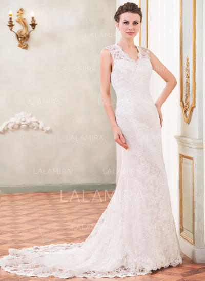 Regular Straps Sleeveless Sweetheart With Lace Wedding Dresses (002210572)