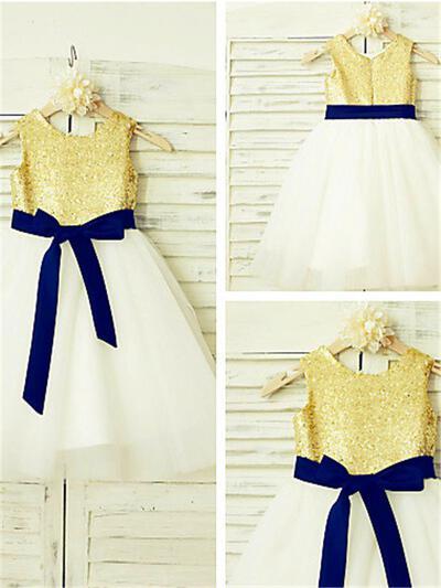 Scoop Neck A-Line/Princess Flower Girl Dresses Tulle/Sequined Sash Sleeveless Knee-length (010211924)