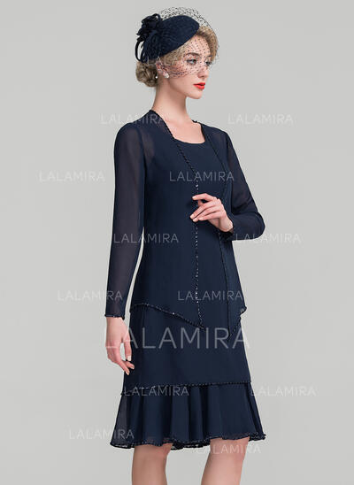 Forme Princesse Col rond Longueur genou Mousseline Robe de mère de la mariée avec Brodé Paillettes (008107643)