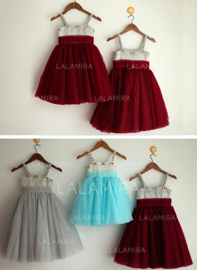 Simple Straps A-Line/Princess Flower Girl Dresses Tea-length Satin/Tulle Sleeveless (010196729)