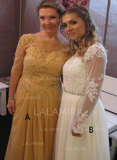 Decote redondo Tecido de seda Glamorouso Vestidos para a mãe da noiva (008212719)
