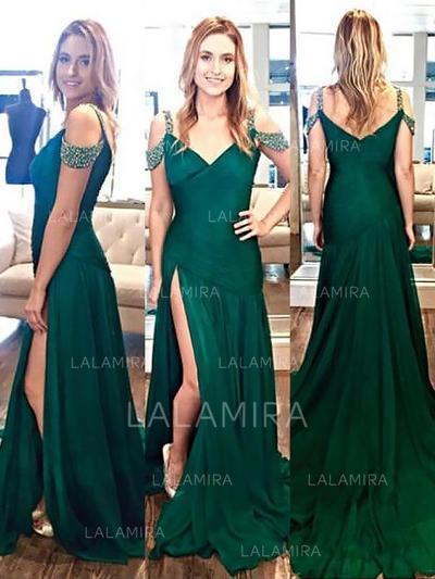 Chic Satin Evening Dresses A-Line/Princess Sweep Train V-neck Sleeveless (017210887)