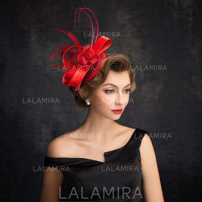 Feather/Tulle/Linen With Feather Fascinators Elegant Ladies' Hats (196194248)