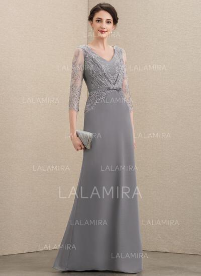 Corte A Decote V Longos Tecido de seda Renda Vestido para a mãe da noiva com Curvado (008195410)