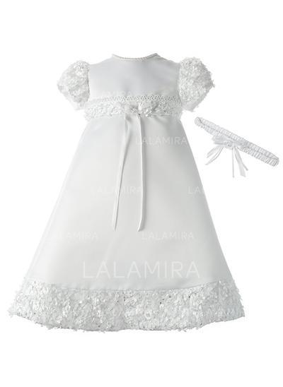 Satiné Col rond Dentelle Brodé Robes de baptême bébé fille avec Manches courtes (2001217392)