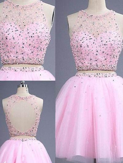 Stunning A-Line/Princess Tulle Beading Prom Dresses