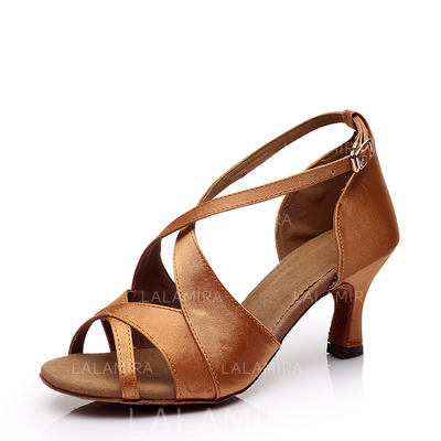 Women's Latin Heels Sandals Satin With Buckle Hollow-out Dance Shoes (053182200)