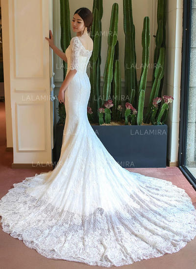Chic Appliques Trumpet/Mermaid With Lace Wedding Dresses (002147928)