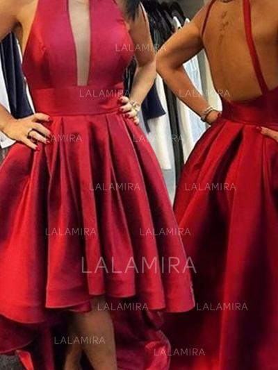 A-Line/Princess Scoop Neck Asymmetrical Satin Homecoming Dresses (022212312)