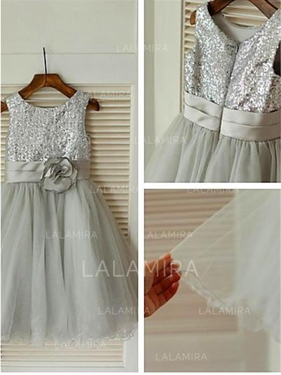 Scoop Neck A-Line/Princess Flower Girl Dresses Tulle/Sequined Flower(s) Sleeveless Tea-length (010211849)