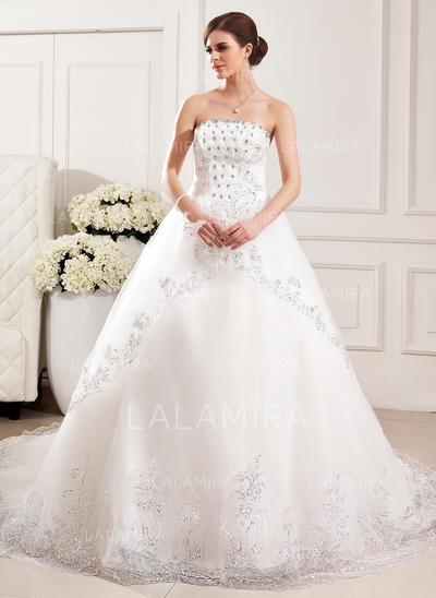 Comboios Catedral Sem Mangas De baile - Tule Vestidos de noiva (002213310)