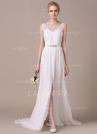 Beautiful Chiffon Lace Wedding Dresses With A-Line/Princess Sweetheart (002210607)