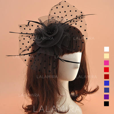 Dames Wijnoogst Organza met Feather Fascinators (196124669)