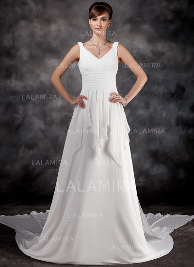 Modern Chiffon Sweetheart Sleeveless Wedding Dresses (002000565)