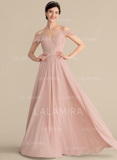 Vestidos princesa/ Formato A Amada Longos Tecido de seda Vestido de madrinha com Pregueado Renda Beading (007165857)