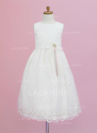 Organza A-Line/Princess Flower(s)/Bow(s) Modern Flower Girl Dresses (010005343)