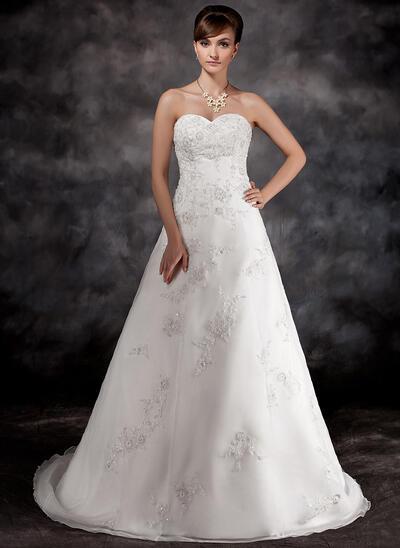 Beading Appliques Sleeveless Sweetheart Organza A-Line/Princess Wedding Dresses (002196896)