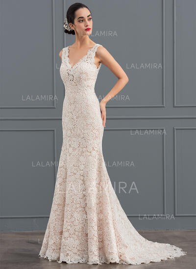 Trumpet/Mermaid V-neck Sweep Train Lace Wedding Dress (002127258)