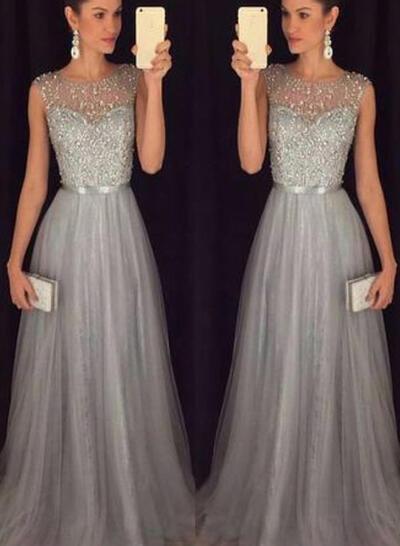 Scoop Neck A-Line/Princess Tulle Sleeveless Flattering Prom Dresses (018212201)