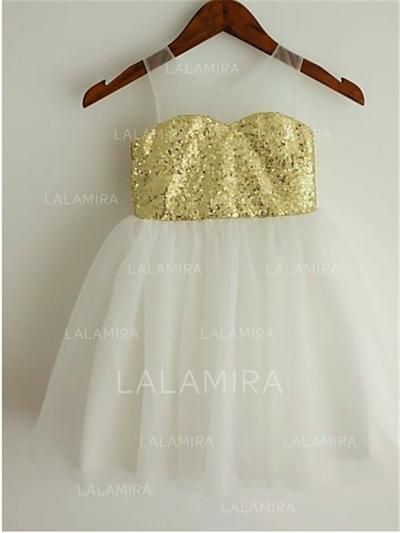 Scoop Neck A-Line/Princess Flower Girl Dresses Tulle/Sequined Pleated Sleeveless Knee-length (010211966)