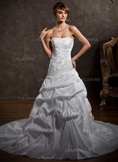 Simple General Plus Strapless A-Line/Princess Taffeta Wedding Dresses (002196880)