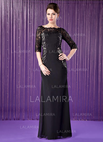 Sheath/Column Chiffon Lace 1/2 Sleeves Off-the-Shoulder Floor-Length Zipper Up Mother of the Bride Dresses (008213147)