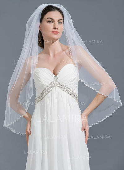 Fingertip Bridal Veils Tulle One-tier Classic With Beaded Edge Wedding Veils (006152216)