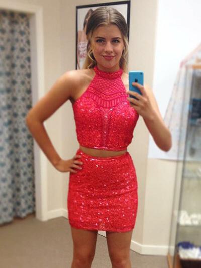 Elegant Homecoming Dresses Sheath/Column Short/Mini Halter Sleeveless (022216388)