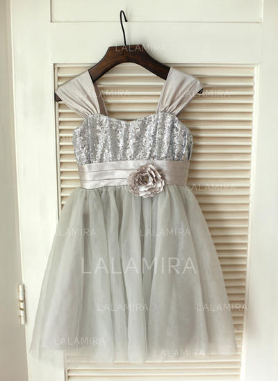 Ball Gown Knee-length Flower Girl Dress - Satin/Tulle/Sequined Sleeveless Straps With Flower(s)/Bow(s) (010089211)