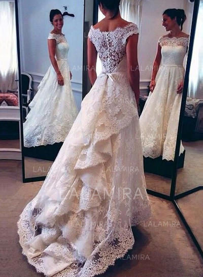 Sweep Train Cascading Ruffles Off-The-Shoulder With Lace Wedding Dresses (002146269)