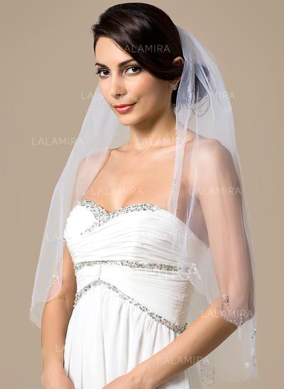 Elbow Bridal Veils Tulle One-tier Classic With Beaded Edge Wedding Veils (006151794)