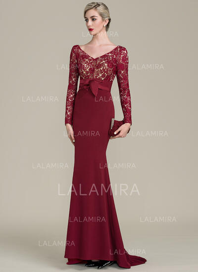 Trumpet/Mermaid V-neck Sweep Train Lace Jersey Mother of the Bride Dress (008102687)