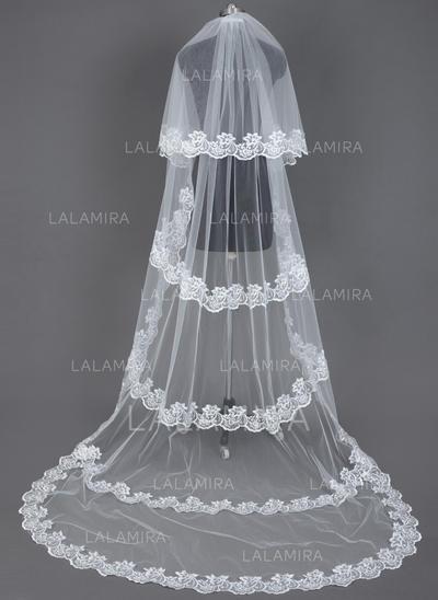 Velos de novia capilla Tul Dos capas Velo cascada con Con Aplicación de encaje Velos de novia (006035721)