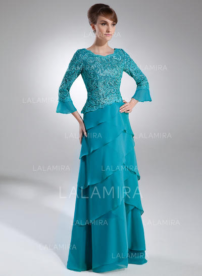 A-Line/Princess Chiffon Lace 3/4 Sleeves Scoop Neck Sweep Train Zipper Up Mother of the Bride Dresses (008006159)