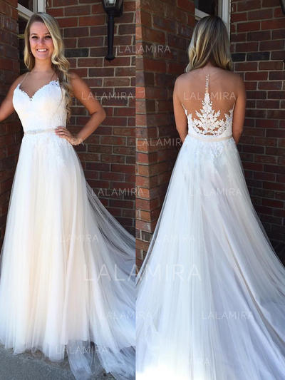A-Line/Princess Sweetheart Court Train Wedding Dresses With Beading (002144897)