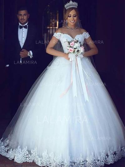 Tulle Floor-Length Lace With Regular Straps Wedding Dresses (002217842)