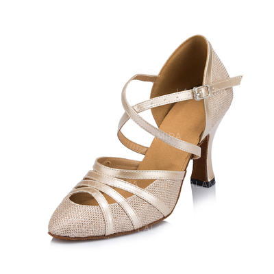 Women's Ballroom Heels Pumps Leatherette With Ankle Strap Dance Shoes (053179104)
