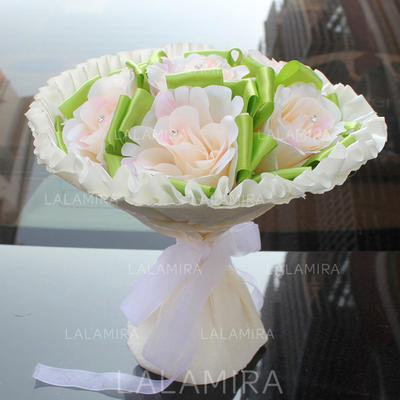 "Bridal Bouquets Round Wedding/Party/Casual Satin 11.42""(Approx.29cm) Wedding Flowers (123190174)"