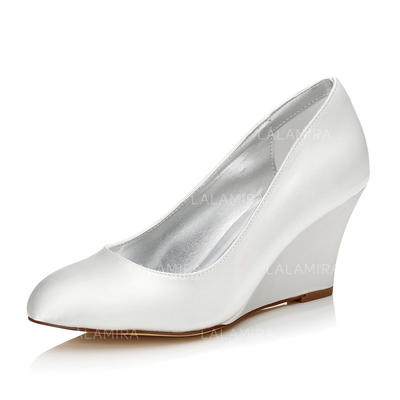 Women's Closed Toe Dyeable Shoes Wedge Heel Satin Yes Wedding Shoes (047205959)