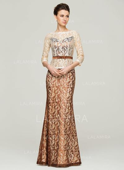 Trumpet/Mermaid Lace 3/4 Sleeves Scoop Neck Floor-Length Zipper Up Mother of the Bride Dresses (008062560)