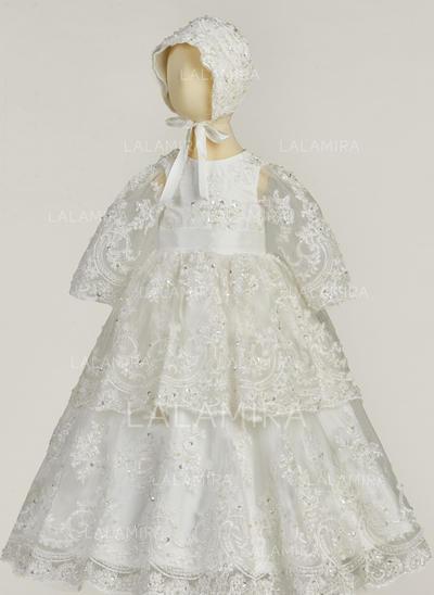 Renda Decote redondo Beading Vestidos de batismo do bebê com Manga comprida (2001217417)