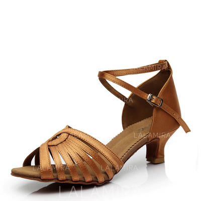 Women's Latin Heels Sandals Satin With Buckle Hollow-out Dance Shoes (053181501)