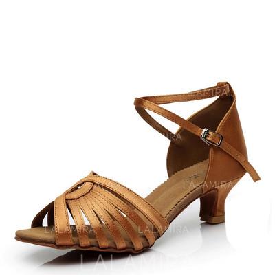 De mujer Danza latina Tacones Sandalias Satén con Hebilla Agujereado Zapatos de danza (053108011)