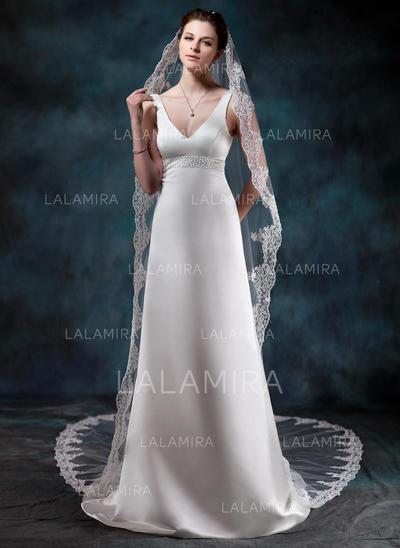 Cathedral Bridal Veils Tulle One-tier Drop Veil/Mantilla With Lace Applique Edge Wedding Veils (006150957)