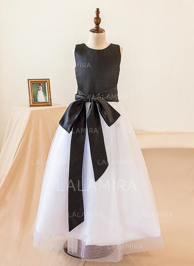 A-Line/Princess Floor-length Flower Girl Dress - Satin Sleeveless Scoop Neck With Bow(s) (010103736)