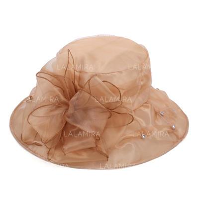 Señoras' Elegante Organdí con Flores de seda Bombín / cloché Sombrero/Sombreros Playa / Sol (196123858)