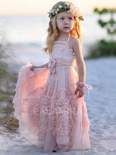 Stunning Square Neckline A-Line/Princess Flower Girl Dresses Floor-length Chiffon Sleeveless (010145246)